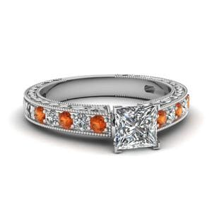 Vintage Engraved Princess Cut Diamond Engagement Ring With Orange Sapphire In 14K White Gold