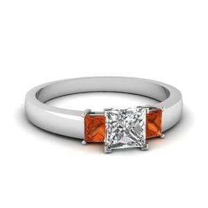 Dainty 3 Stone Princess Cut Engagement Ring With Orange Sapphire In 14K White Gold