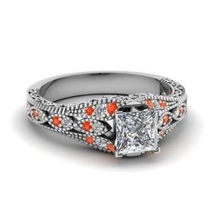 Princess Cut Diamond Ring With Orange Topaz