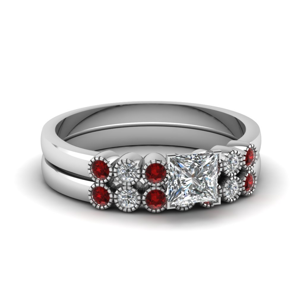 Bezel Milgrain Princess Cut Diamond Wedding Ring Set With Ruby In 14K White Gold