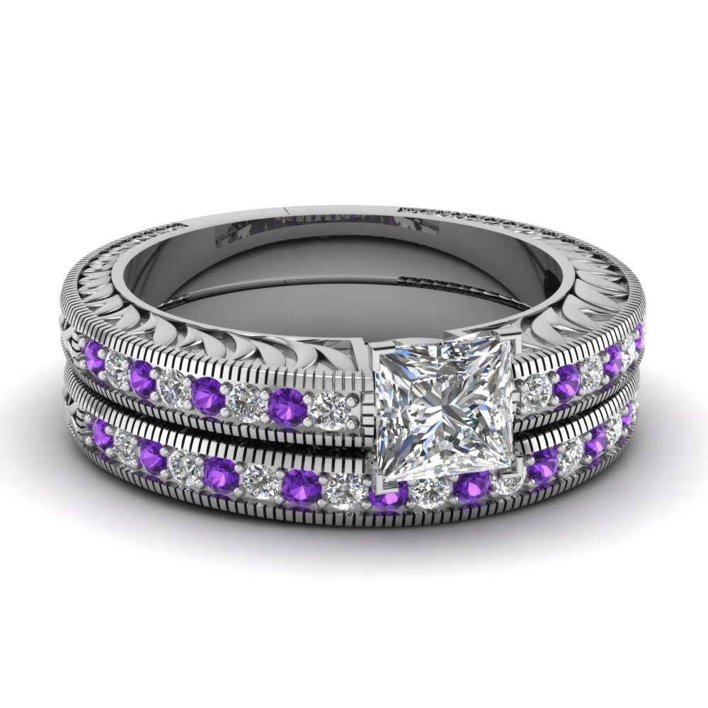 Hand Engraved Princess Cut Vintage Wedding Ring Set With Purple Topaz In 950 Platinum