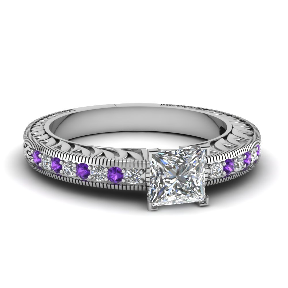 Hand Engraved Princess Cut Vintage Engagement Ring With Purple Topaz In 950 Platinum