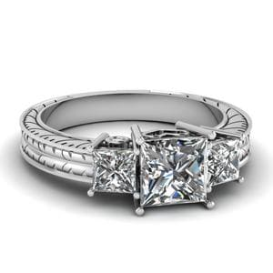 Bezel Set Diamond Engraved Ring