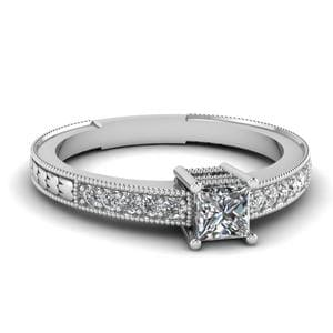 Vintage Pave Diamond Engagement Ring In 18K White Gold