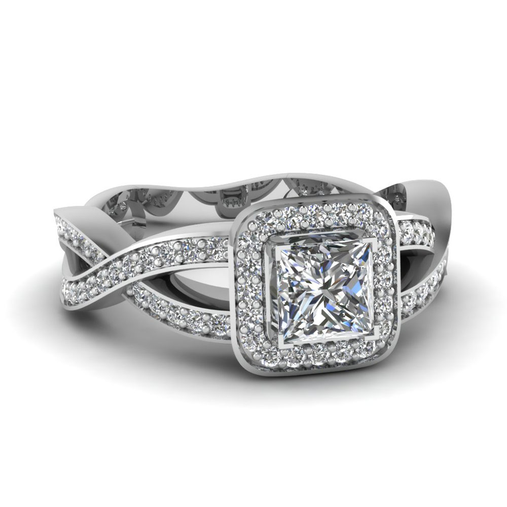 Pave Halo Split Princess Cut Diamond Ring