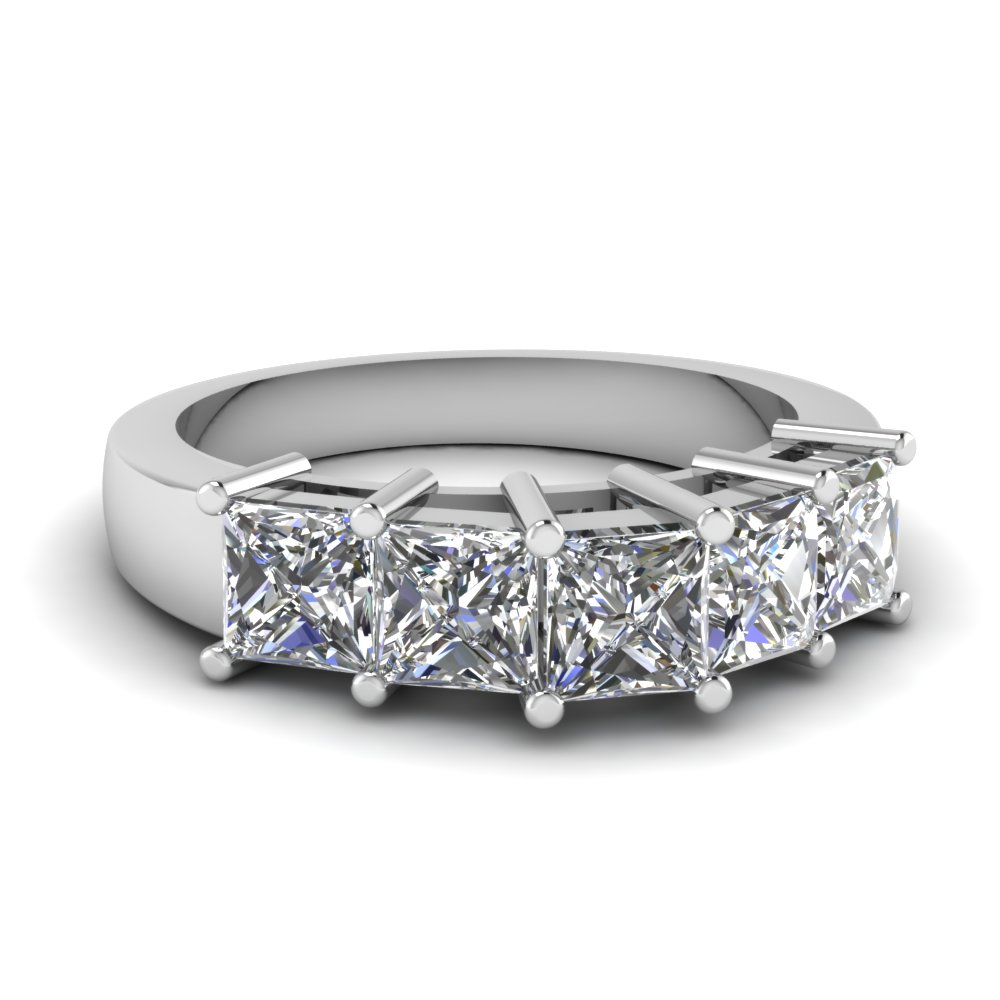 1 Carat 5 Stone Princess Cut Band