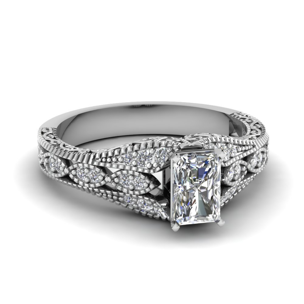 Antique Filigree Radiant Cut Diamond Ring In 18K White Gold