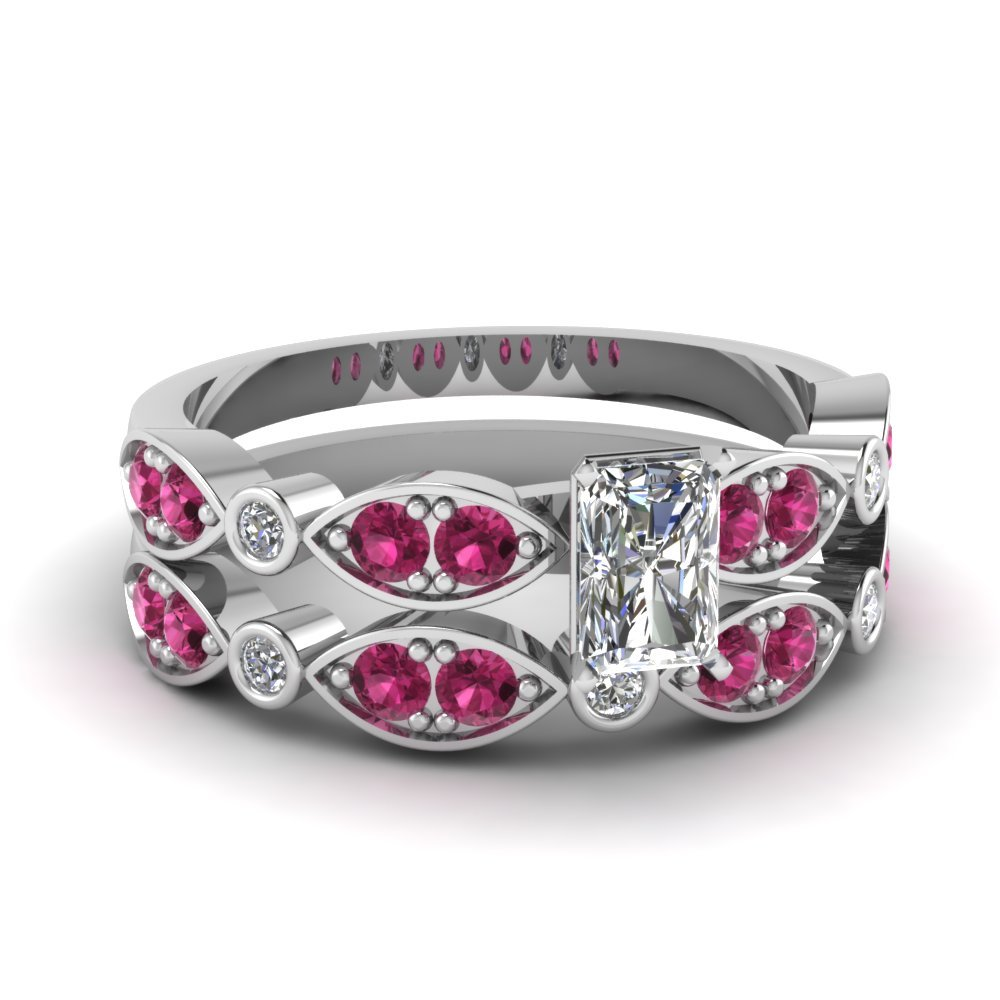 Art Deco Radiant Diamond Wedding Ring Set With Pink Sapphire In 14K White Gold