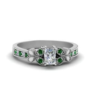 Vintage Butterfly Radiant Diamond Engagement Ring With Emerald In 14K White Gold