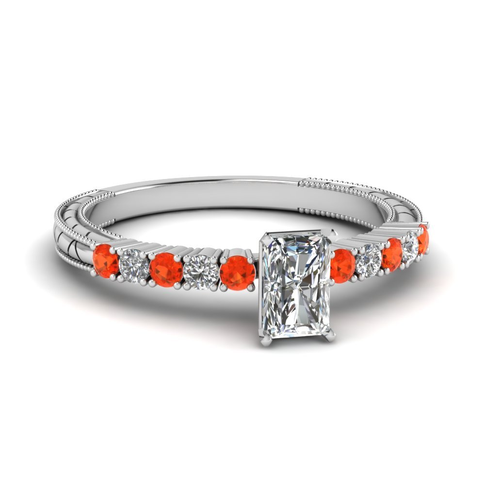 Petite Vintage Radiant Diamond Engagement Ring With Orange Topaz In 14K White Gold