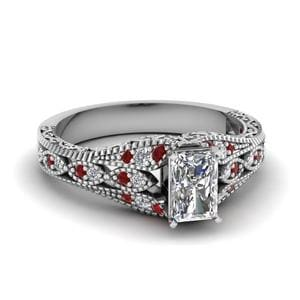 Ruby Antique Filigree Radiant Cut Diamond Ring In 14K White Gold