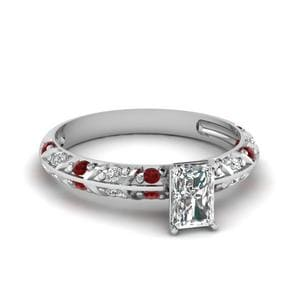 Double Row Ruby Engagement Ring