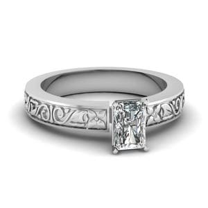 Flower Carved Radiant Cut Solitaire Engagement Ring In 14K White Gold