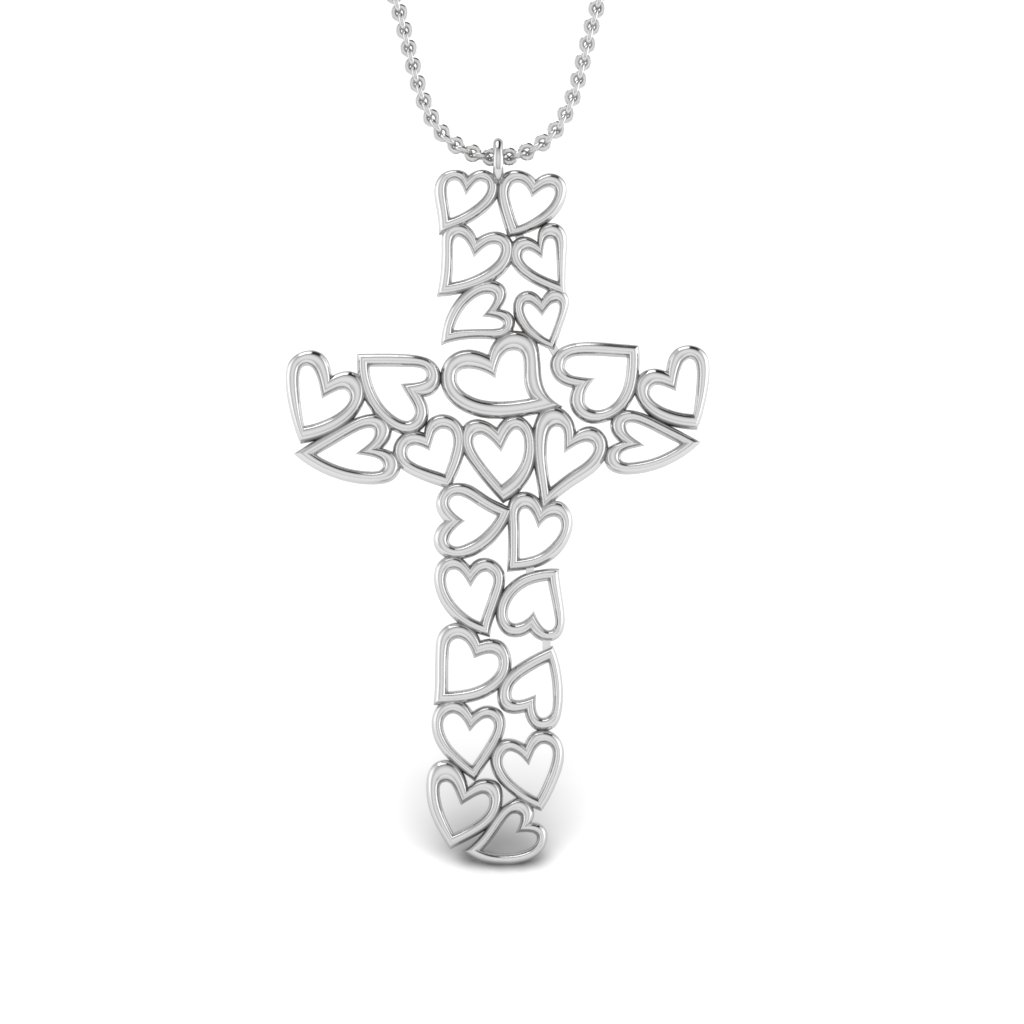 Heart Cluster Cross Pendant Necklace