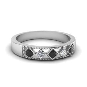 White Gold Round Black Diamond Wedding Band With White Diamond In Bezel Set