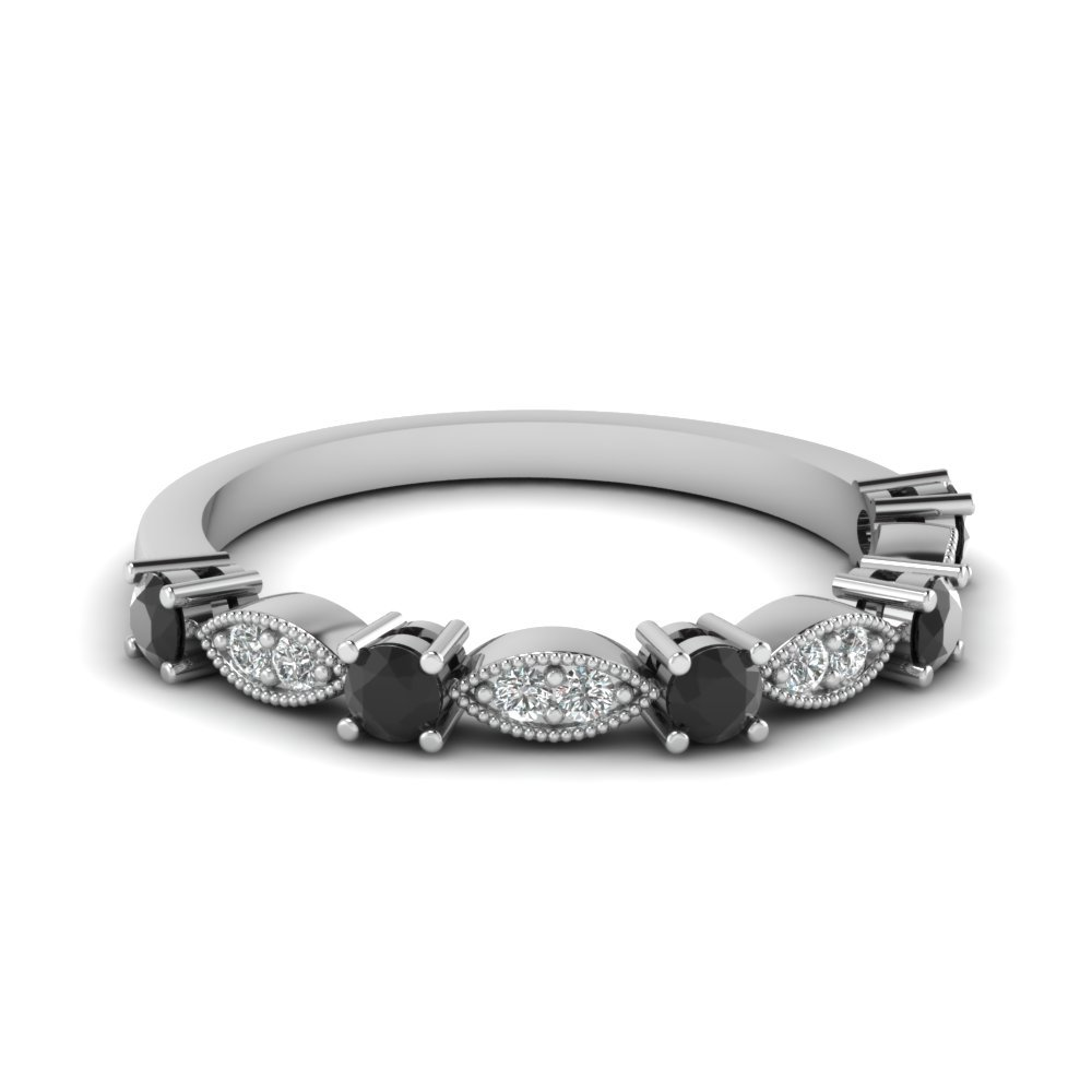 Art Deco Round Wedding Band With Black Diamond In 18K White Gold