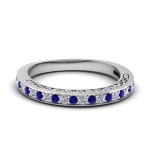 Engraved Sapphire Wedding Band