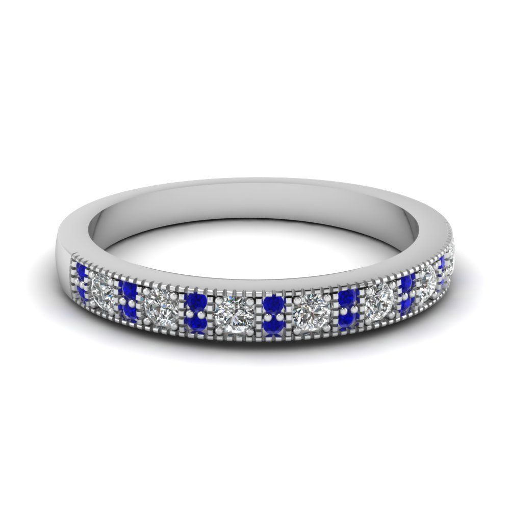 Sapphire White Gold Wedding Band