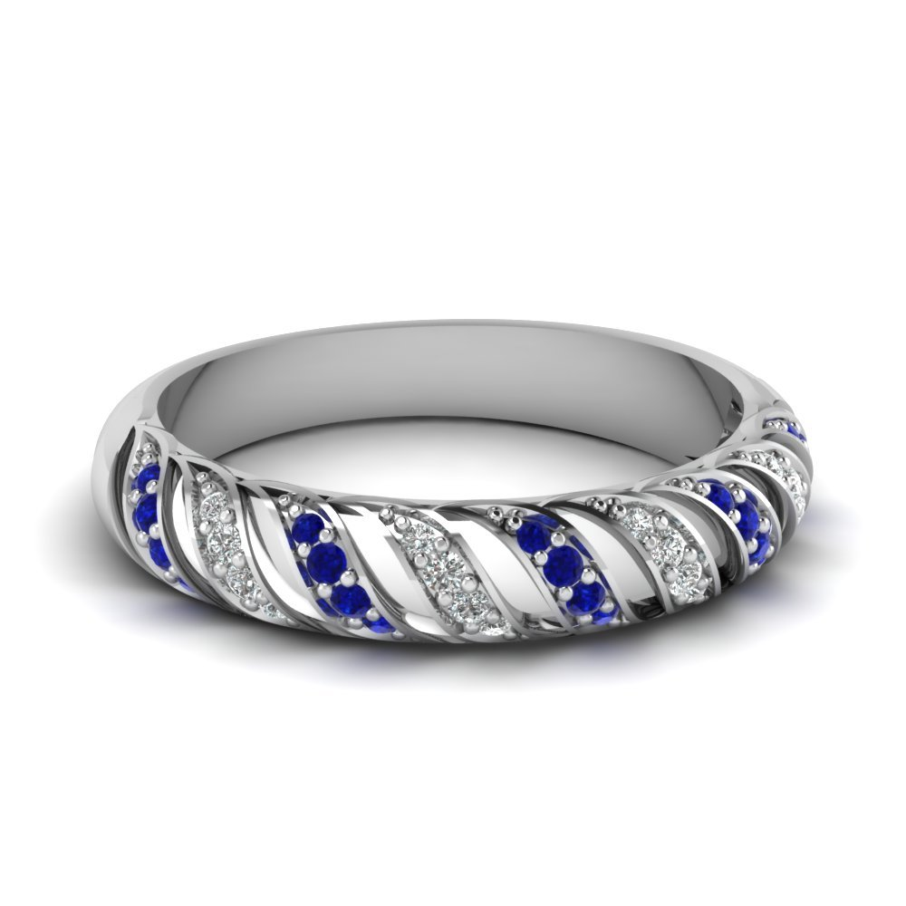 Sapphire Rope Design Diamond Wedding Band In 14K White Gold
