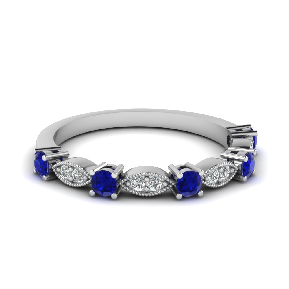 Art Deco Gemstone Wedding Band