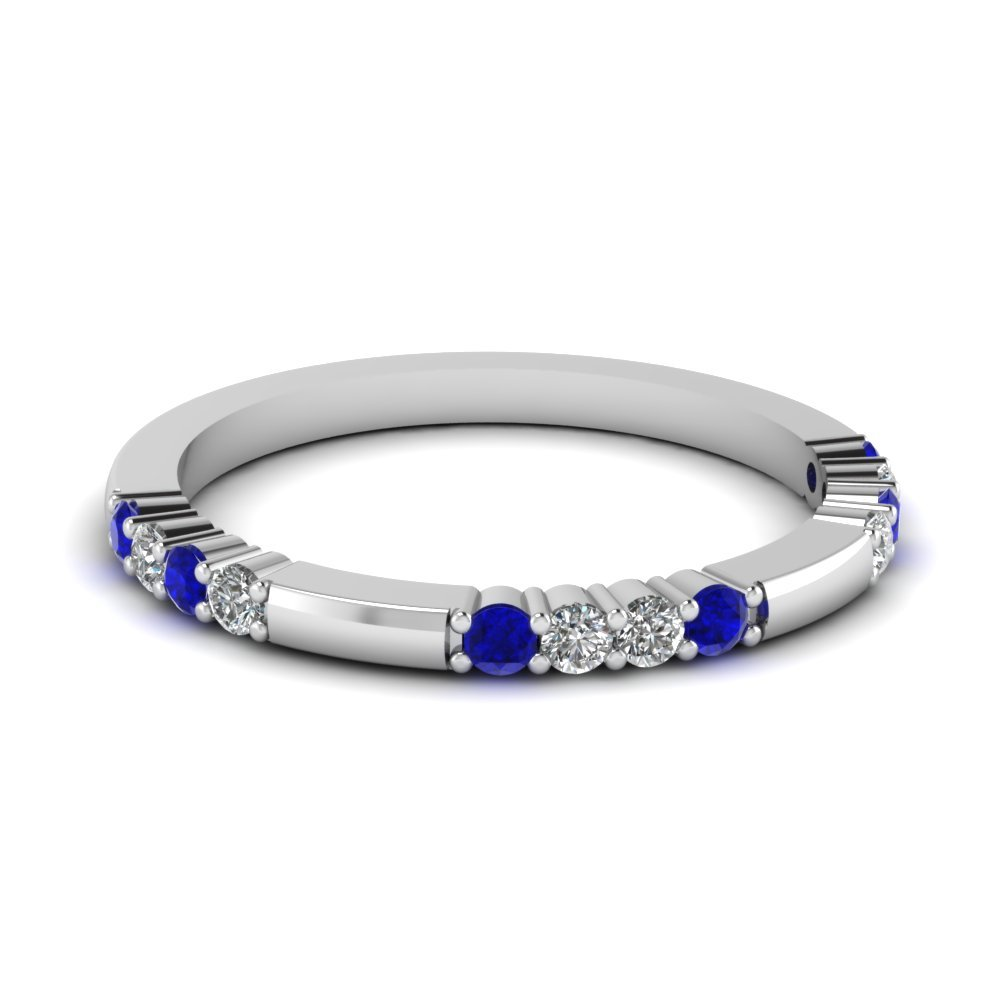 Delicate Diamond And Sapphire Wedding Band In 14K White Gold