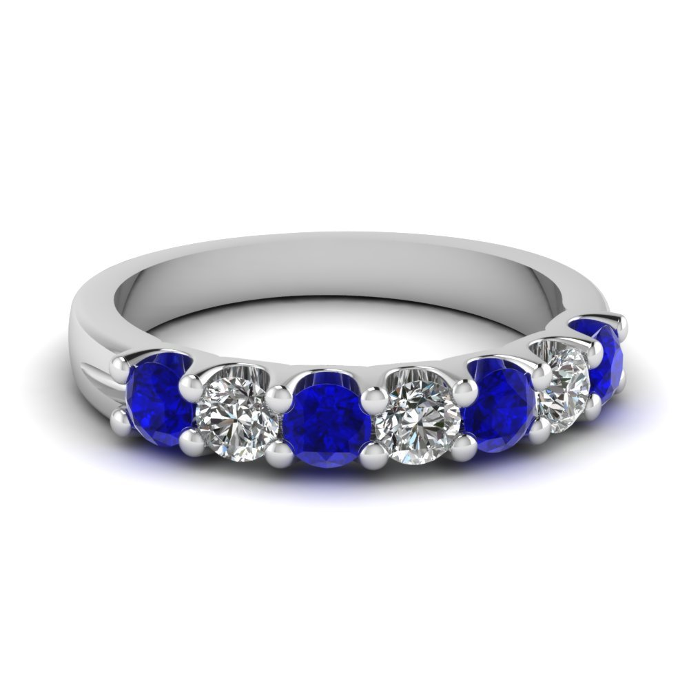 Diamond Sapphire White Gold Wedding band