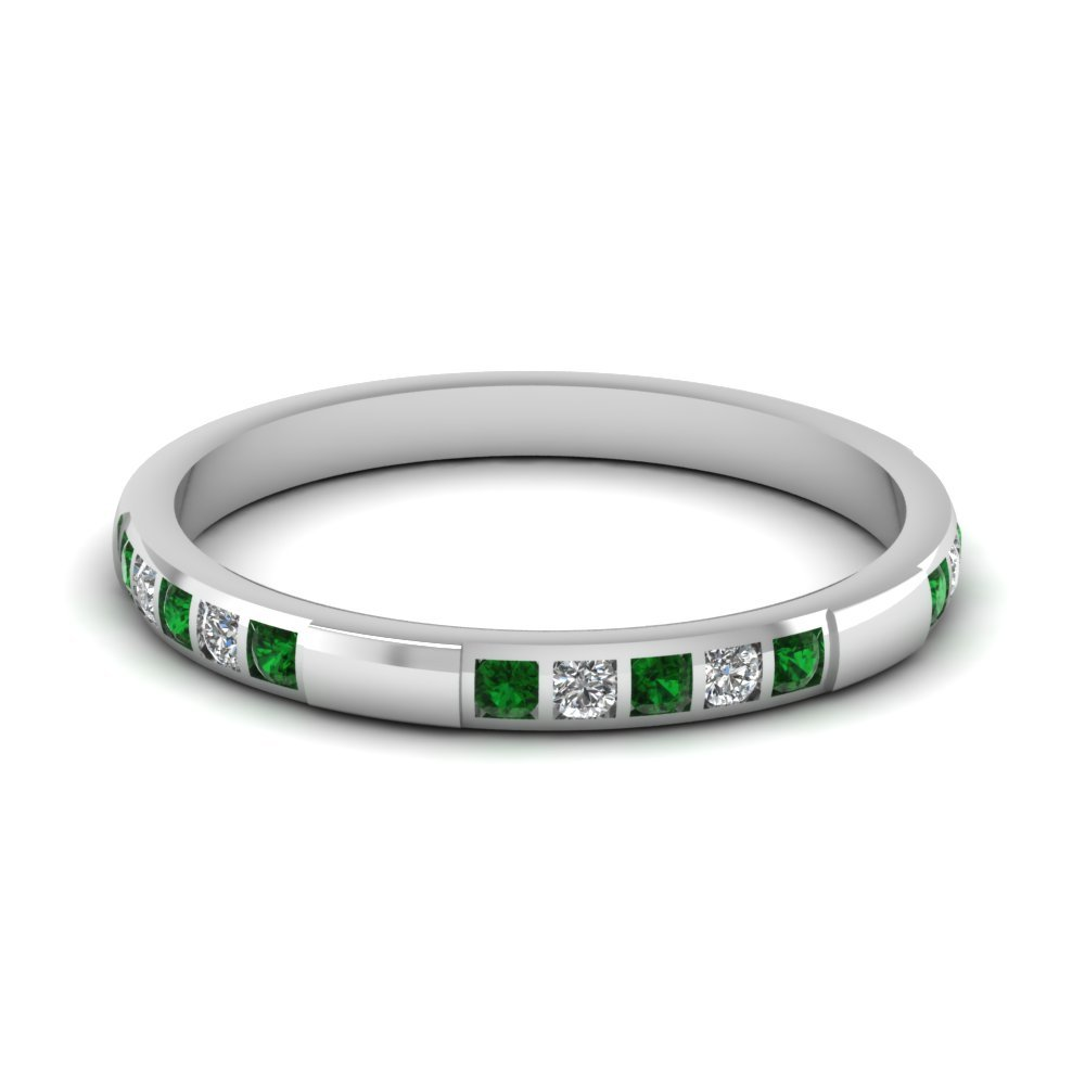 Womens Wedding Bands with Green Emerald in 14K White Gold