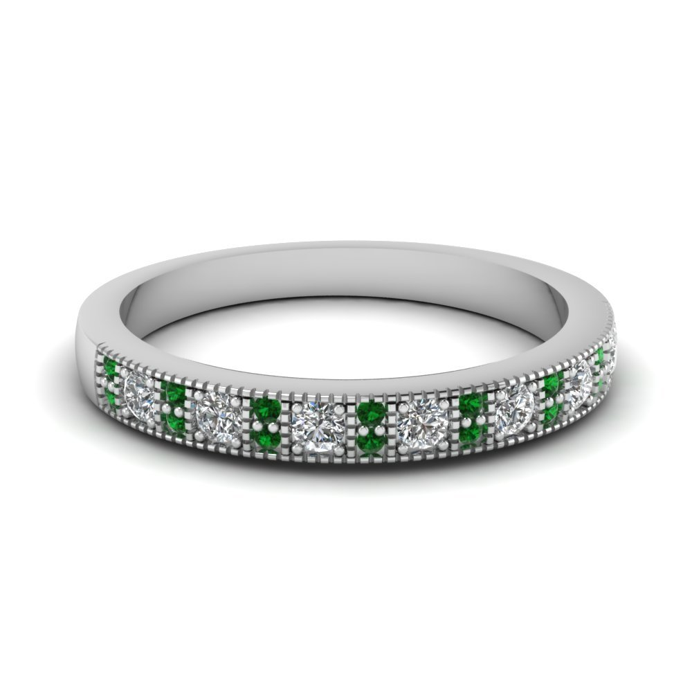 Emerald White Gold Wedding Band