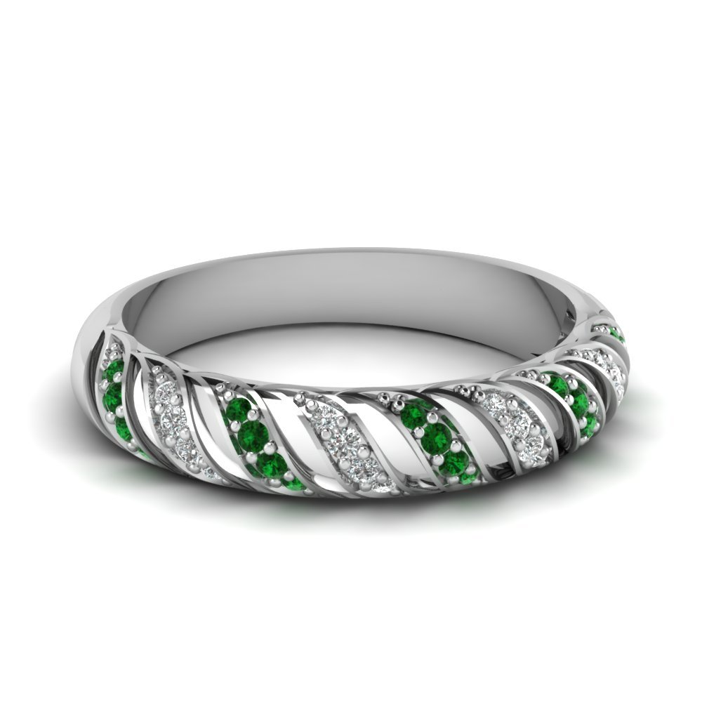 Emerald Rope Design Diamond Wedding Band In 18K White Gold