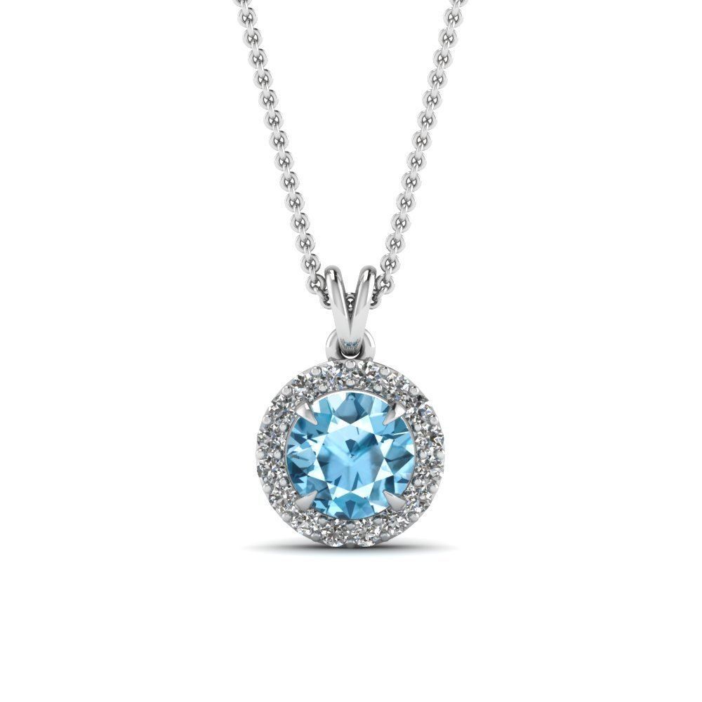 Blue Toapaz Halo Pendant Diamond Necklace In 950 Platinum