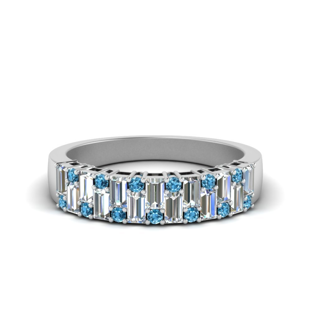 Vintage Baguette Wedding Band With Round Blue Topaz In 18K White Gold