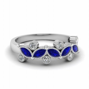 Marquise Milgrain Diamond Wedding Band With Sapphire In 14K White Gold
