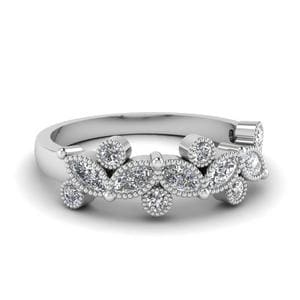 Marquise Milgrain Diamond Wedding Band In 14K White Gold