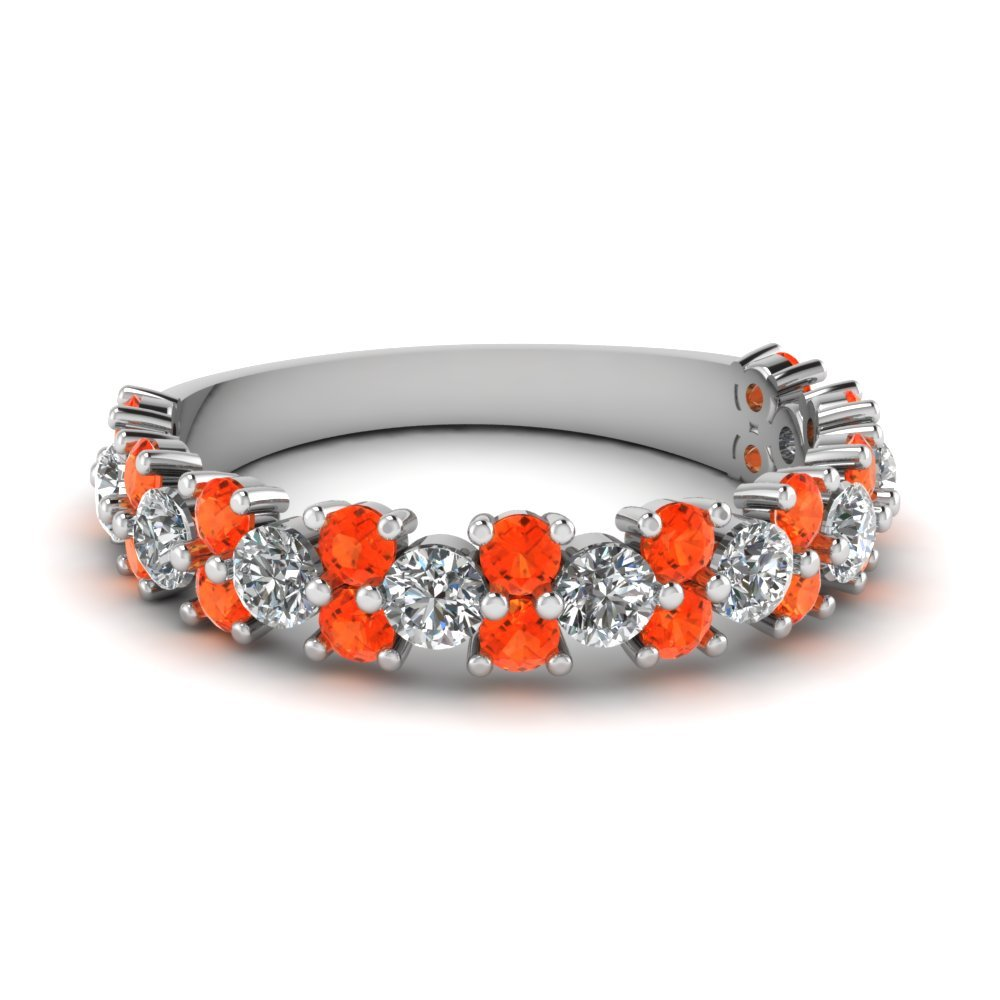 Vintage Round Women Diamond Wedding Ring With Orange Topaz In 950 Platinum
