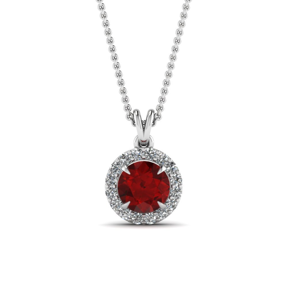 Halo Ruby & Diamond Pendant