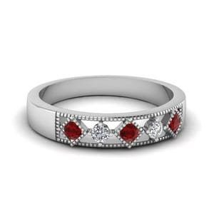 Milgrain 5 Stone Wedding Band With Ruby