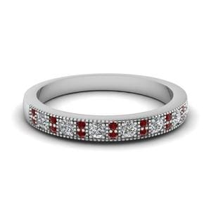 Vintage Diamond Wedding Band With Ruby