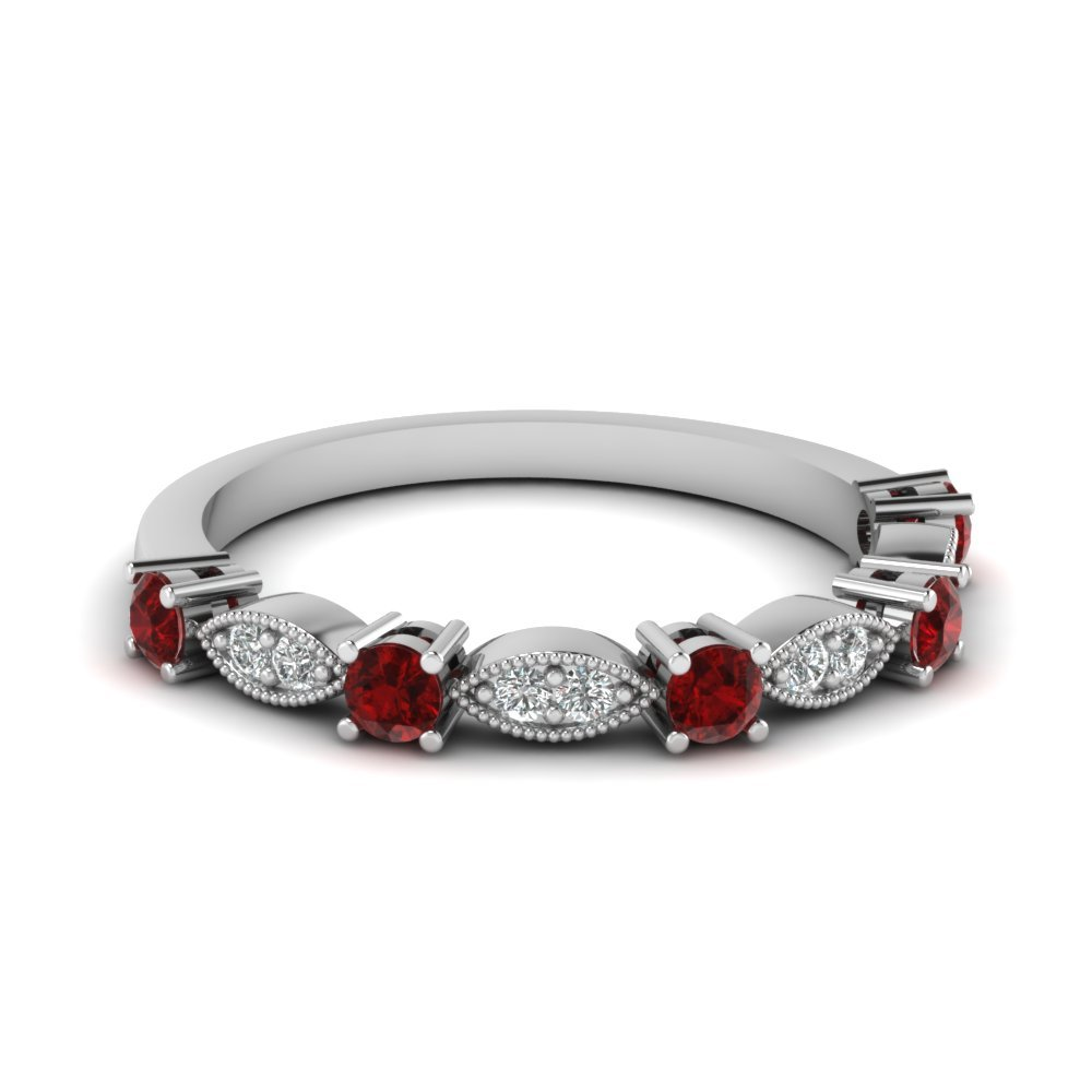 Art Deco Round Diamond Wedding Band With Ruby In 14K White Gold