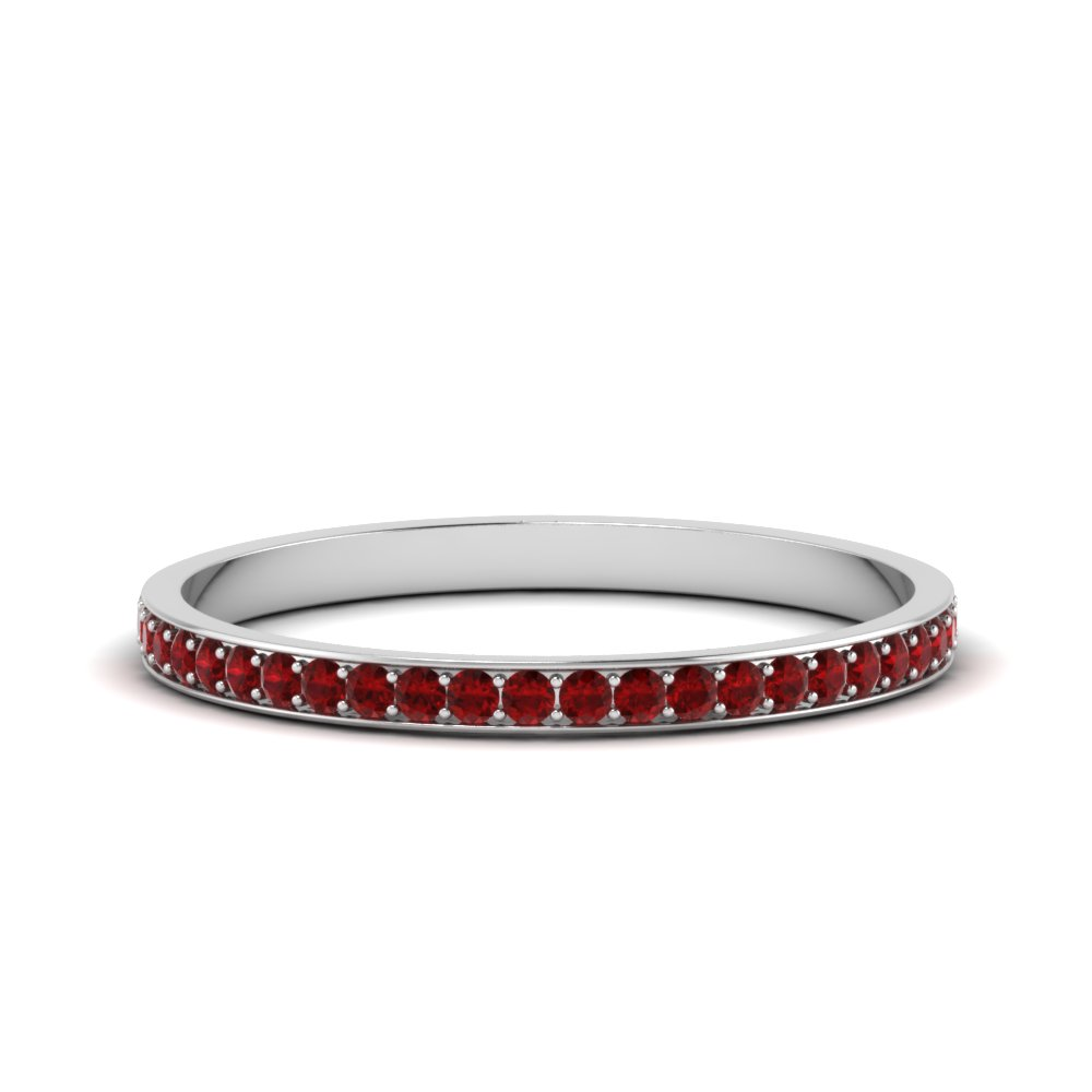 Pave Diamond With Ruby Band