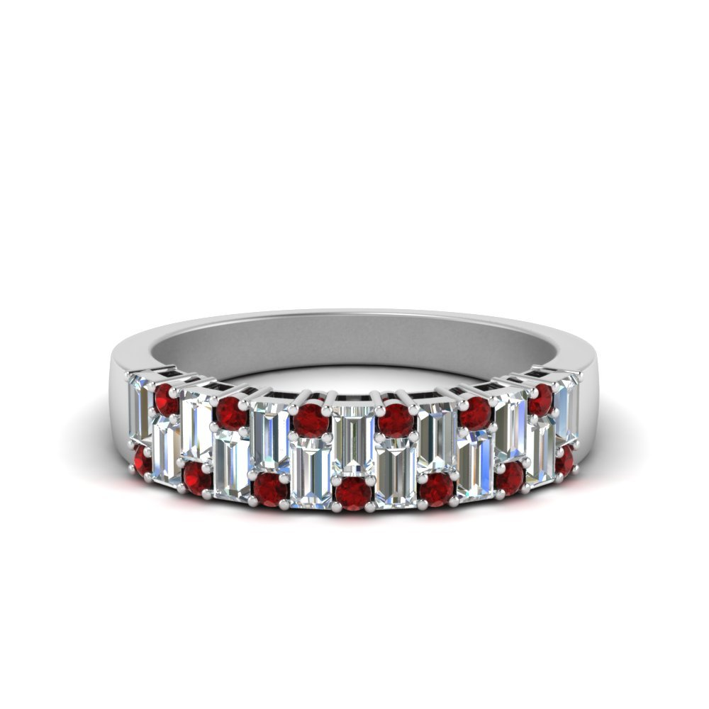 Vintage Baguette Wedding Band With Round Ruby In 14K White Gold