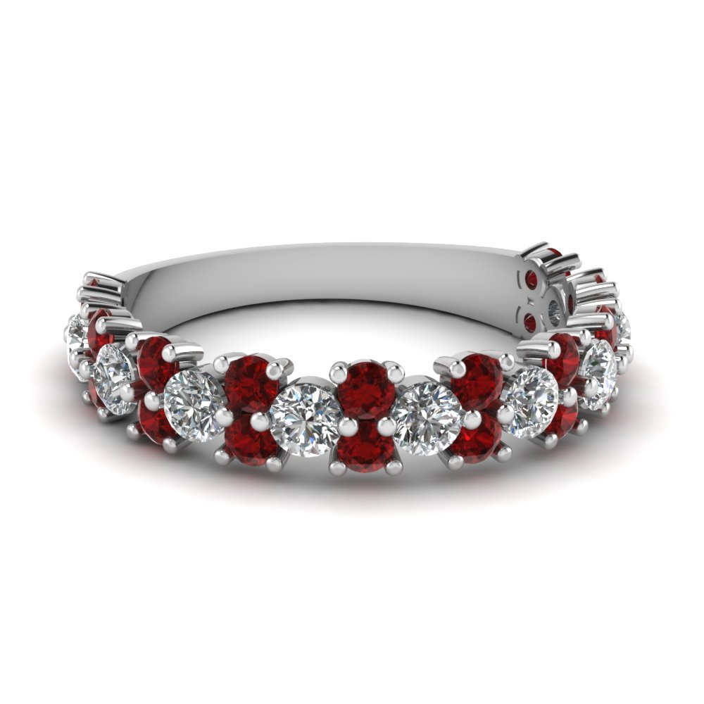 Vintage Round Women Diamond Wedding Ring With Ruby In 14K White Gold