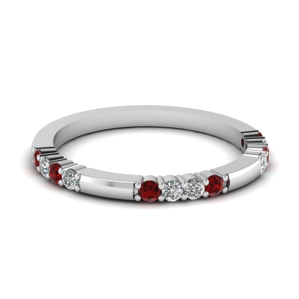Delicate Diamond And Ruby Wedding Band In 14K White Gold