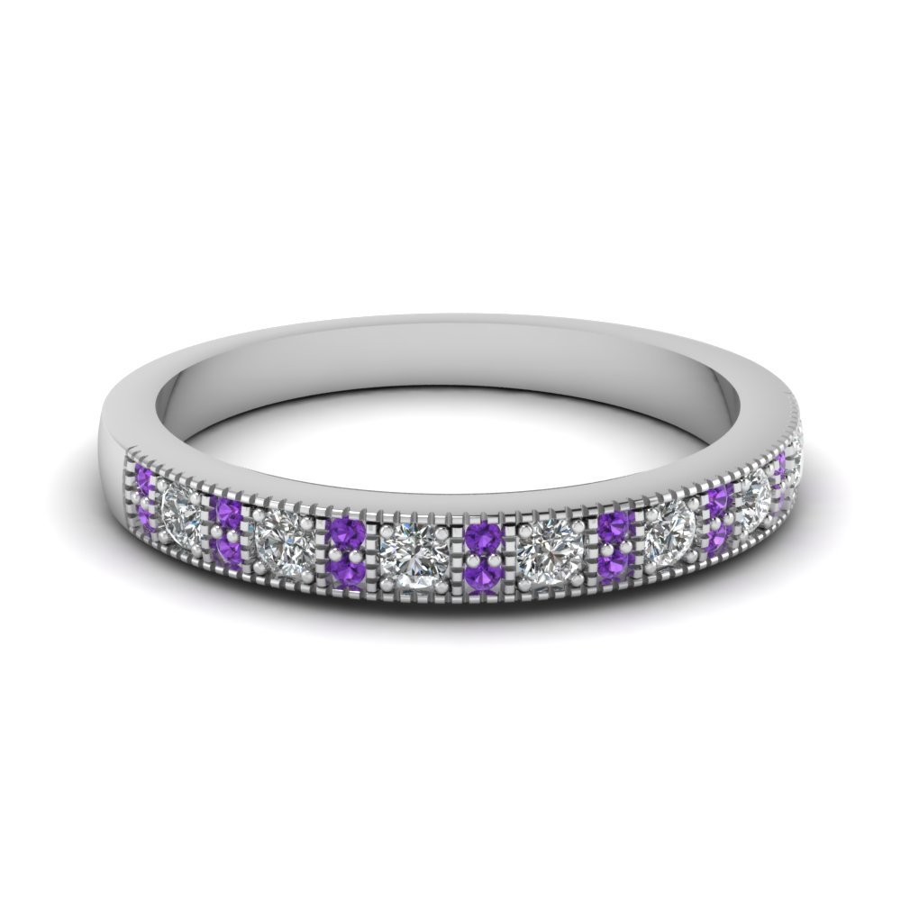 Purple Topaz  Stackable Diamond Ring
