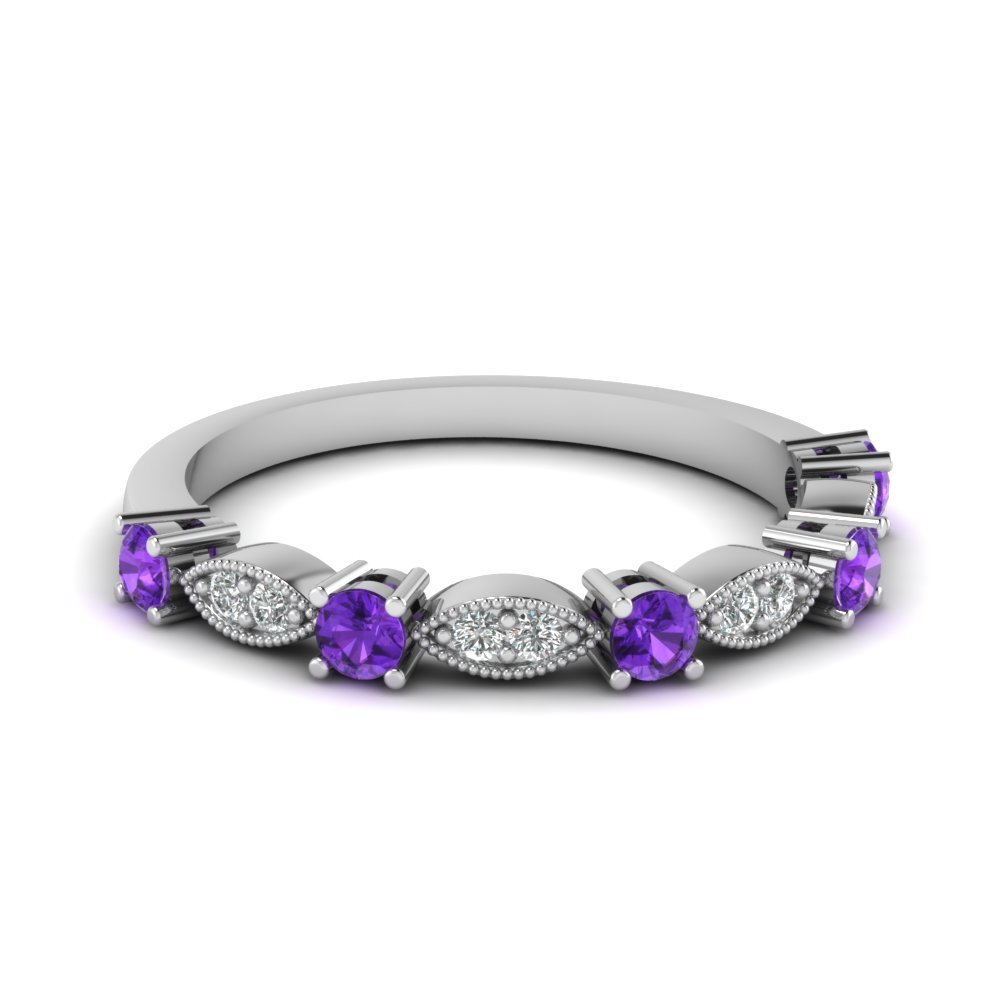 Art Deco Round Diamond Wedding Band With Purple Topaz In 950 Platinum