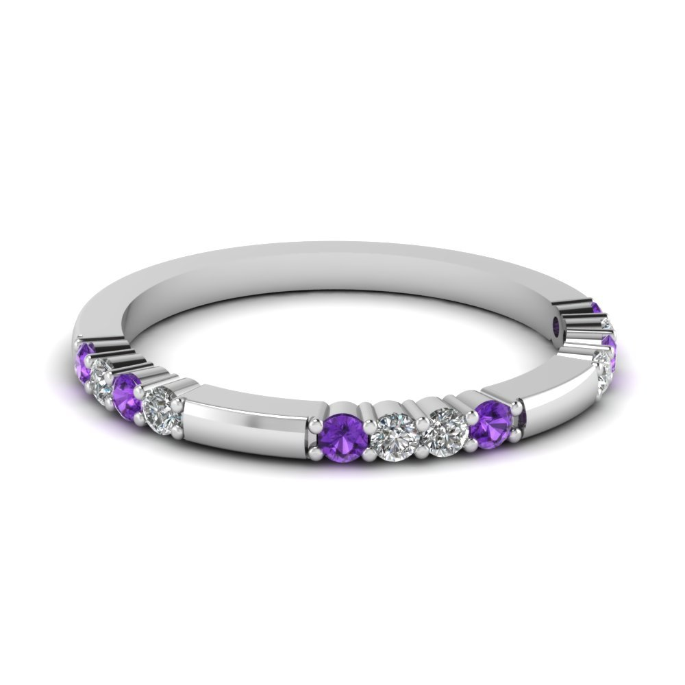 Delicate Diamond And Purple Topaz Wedding Band In 14K White Gold