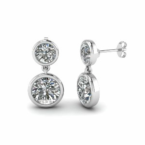 Bezel Round Diamond Drop Earring In 18K White Gold