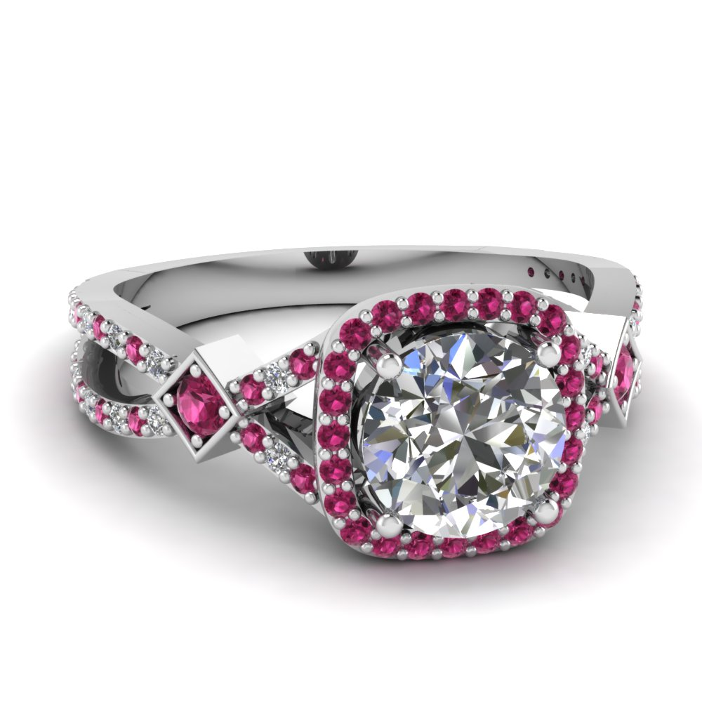 Pink Sapphire Halo Art Deco Ring Style