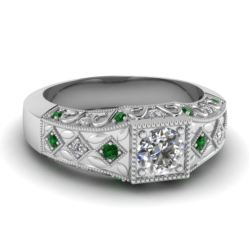 Pave Milgrain Vintage Art Deco Diamond Ring