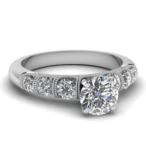 Round Milgrain Prong Bar Set Diamond Engagement Ring In 14K White Gold