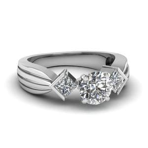 Half Bezel 3 Stone Round Cut Engagement Ring In 950 Platinum